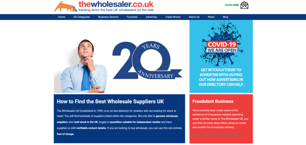 The Wholesaler homepage