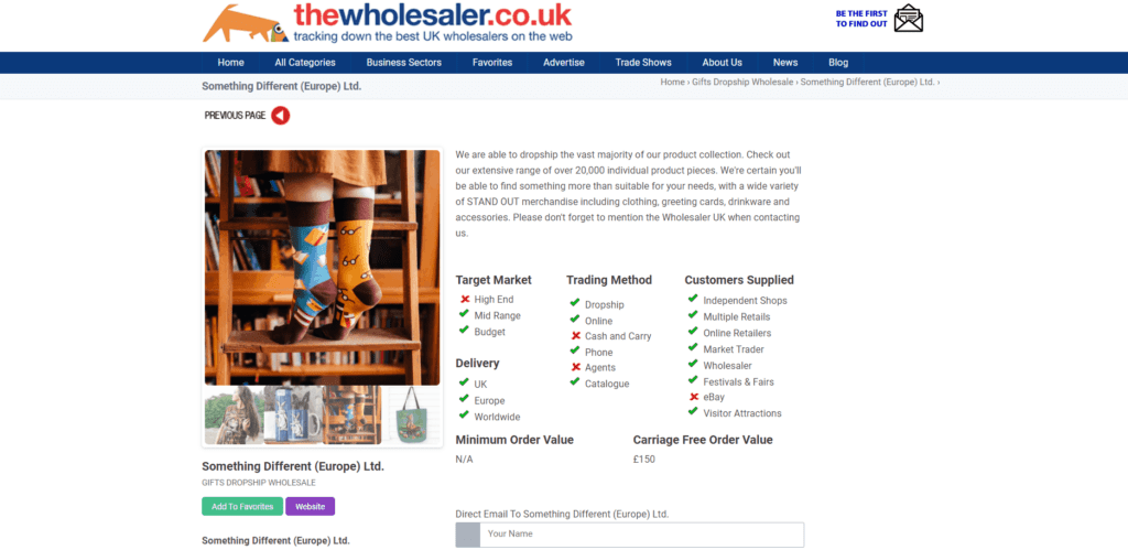 The wholesaler UK supplier page example