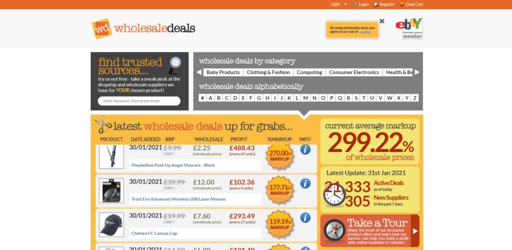Wholesale Deals homepage