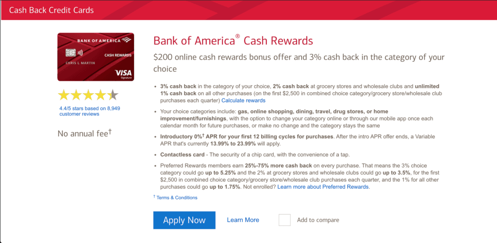 Homepage of the Bank of America credit card