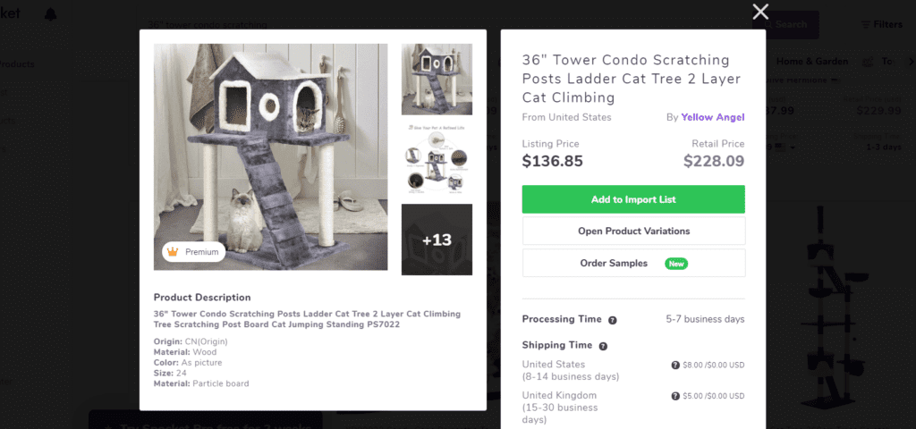 Cat tower condo high ticket dropshipping product example