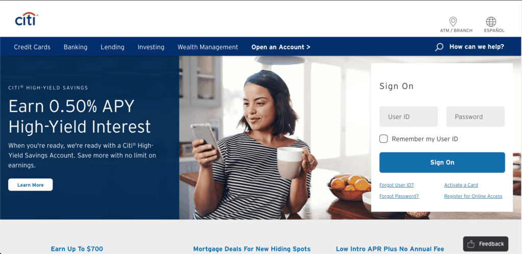 Homepage of the Citi credit card