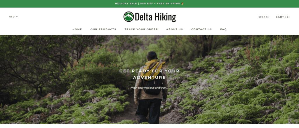 Delta Hiking niche dropshipping store