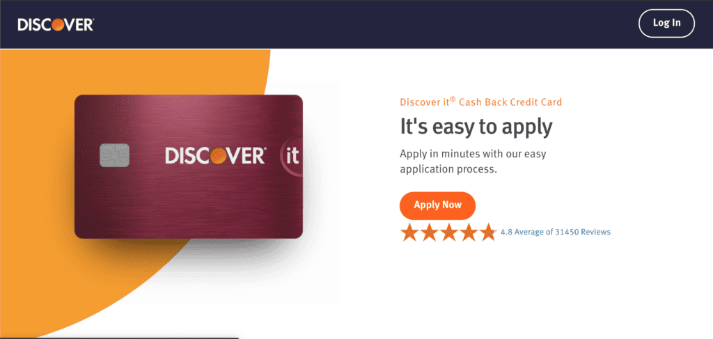 Homepage of the Discover credit card