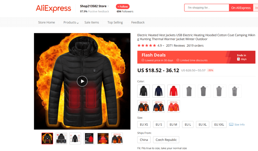 Hiking niche product example electrically heated jacket