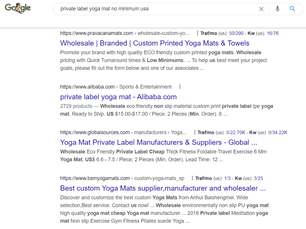 Example of searching for a dropshipping supplier in Google