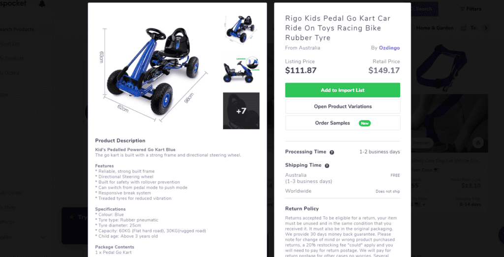 Pedal go-kart high ticket dropshipping product example