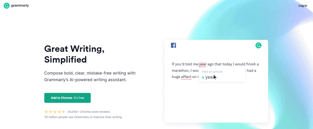 The homepage of Grammarly