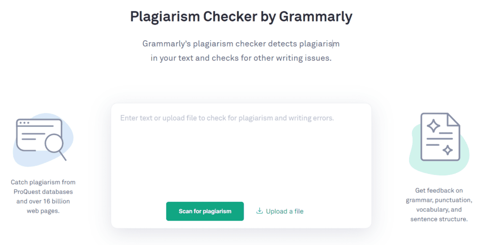 Plagiarism checker from Grammarly