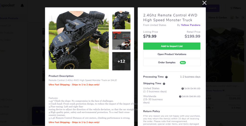 RC monster truck high ticket dropshipping product example