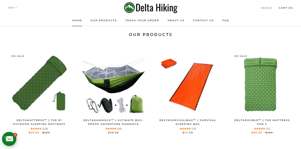 Delta Hiking product examples
