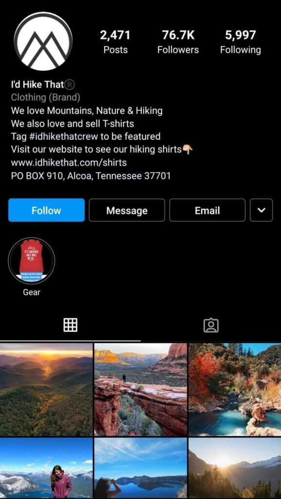 Id Hike That Instagram page