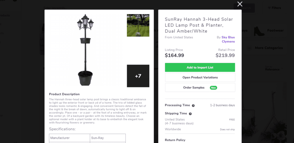 Solar LED garden lamp high ticket dropshipping product example