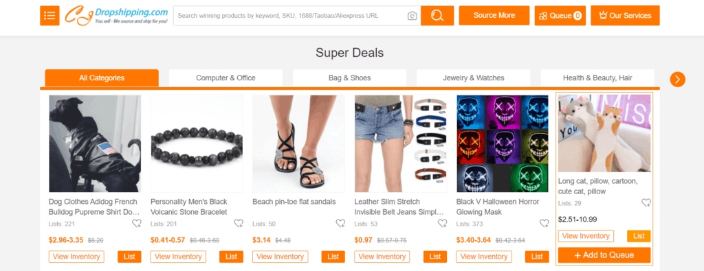Finding regular dropshipping products example