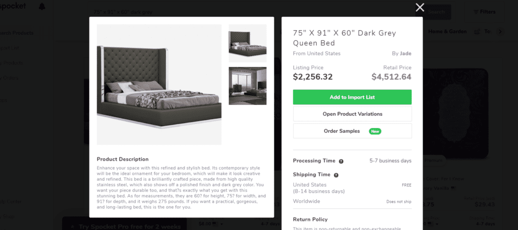 Queen-sized bed high ticket dropshipping product example