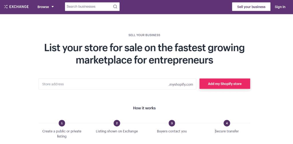 Exchange Marketplace homepage