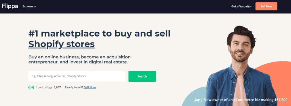 Flippa homepage