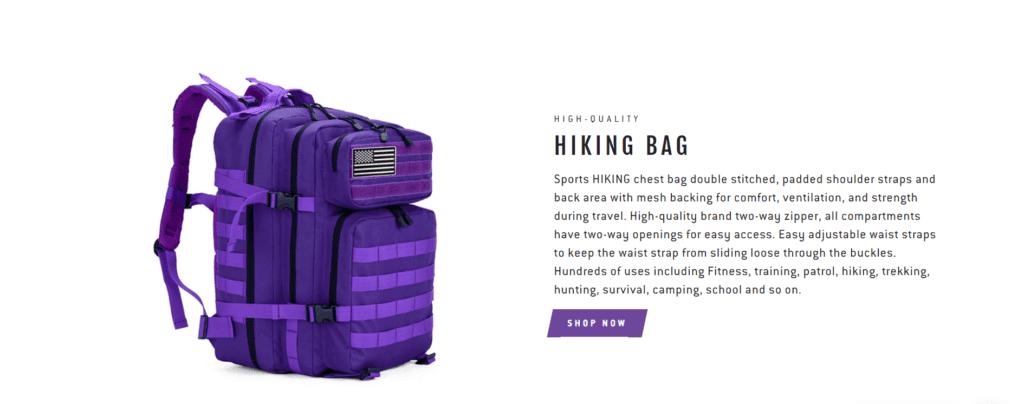 Hiking niche homepage design example