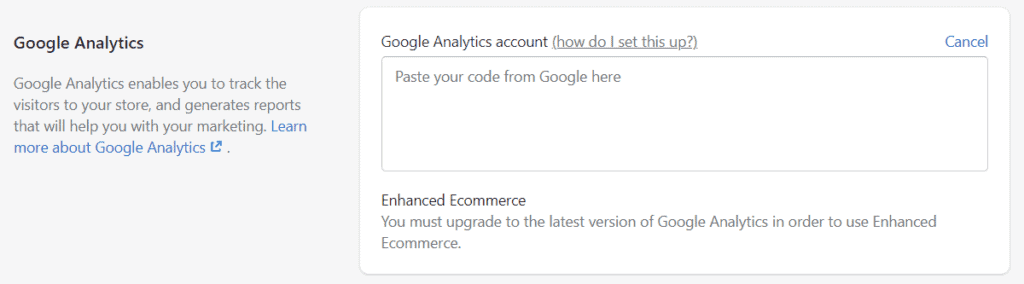 Google Analytics - Connecting to Shopify