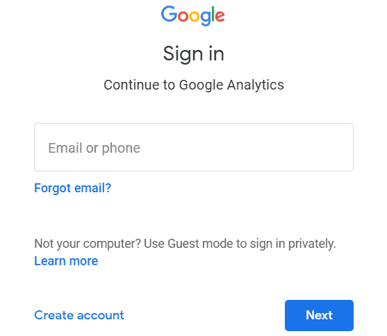 Google Analytics - Signing in