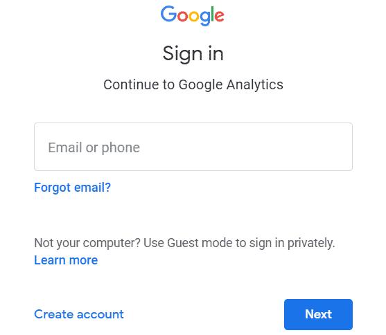 Google Analytics - Signing in