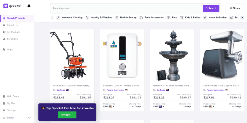 High ticket dropshipping product examples