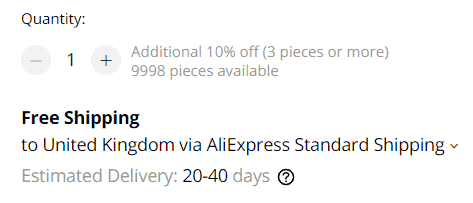 Available stock at AliExpress