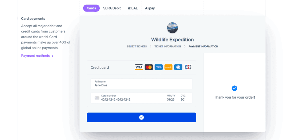 Stripe payment options