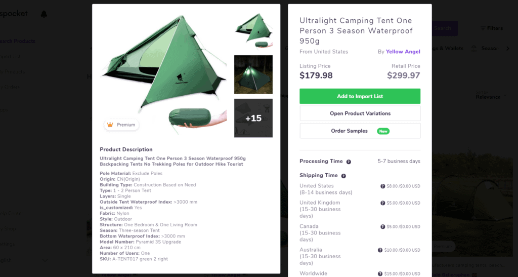 Ultralight camping tent high ticket dropshipping product example