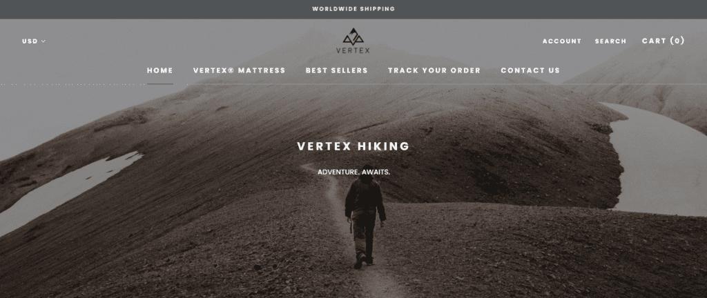 Vertex Hiking homepage