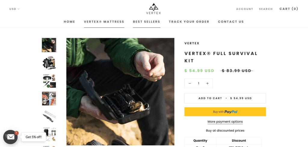 Vertex Hiking niche product example