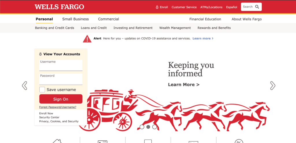 Homepage of the Wells Fargo credit card