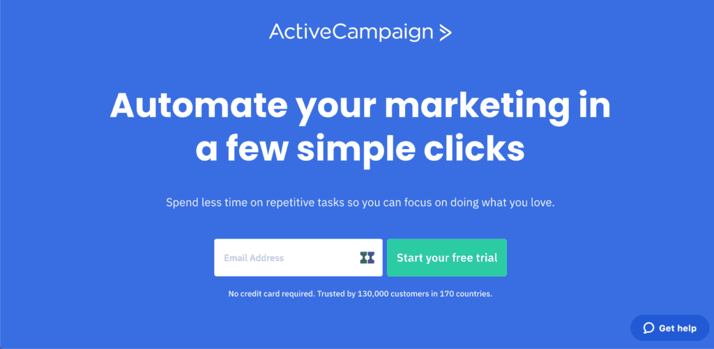 activecampaign home page screenshot