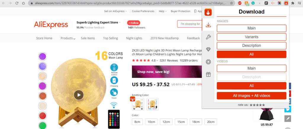 AliSave extension download AliExpress product videos