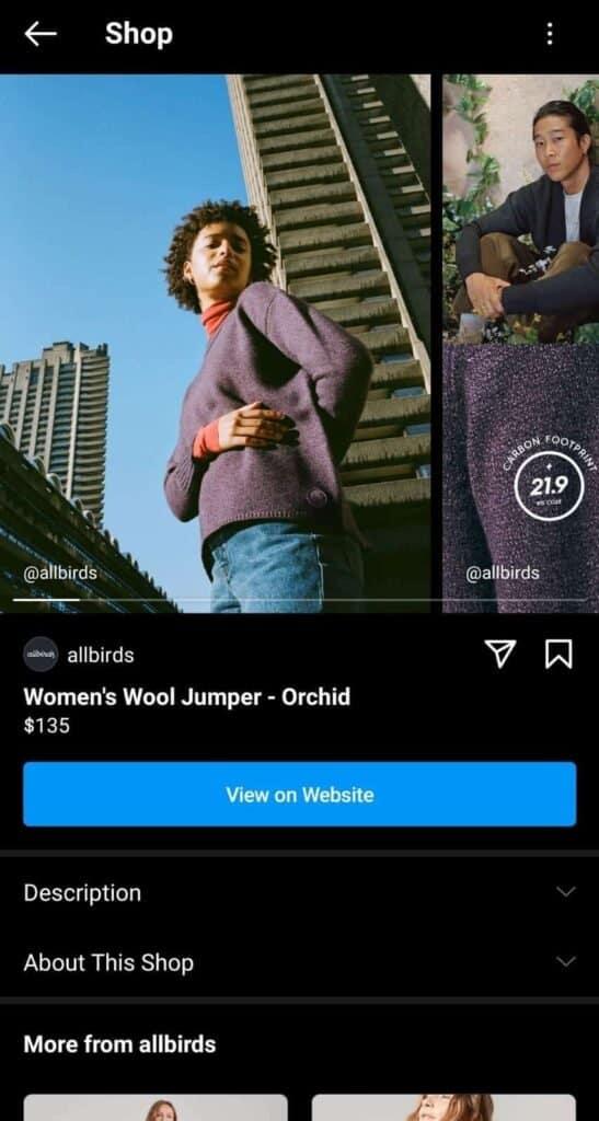 Instagram allbirds shoppable post example 2