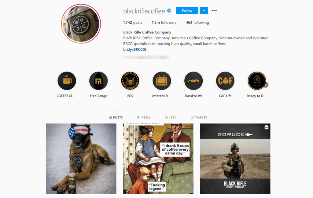 Black Rifle Coffe Ecommerce Store Instagram Account Examples