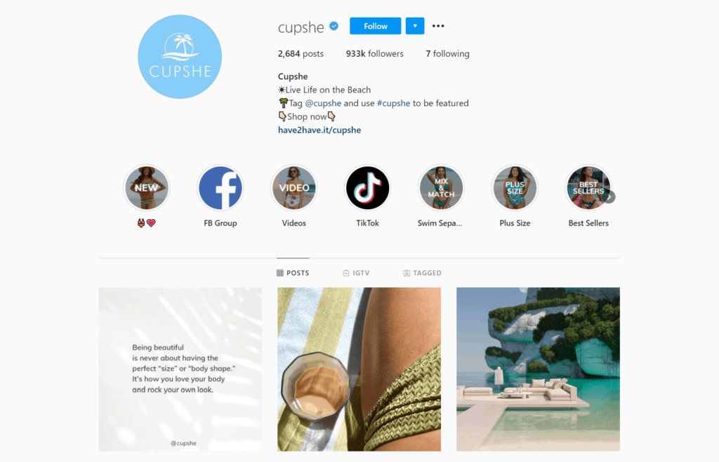 Cupshe Ecommerce Store Instagram Account Examples