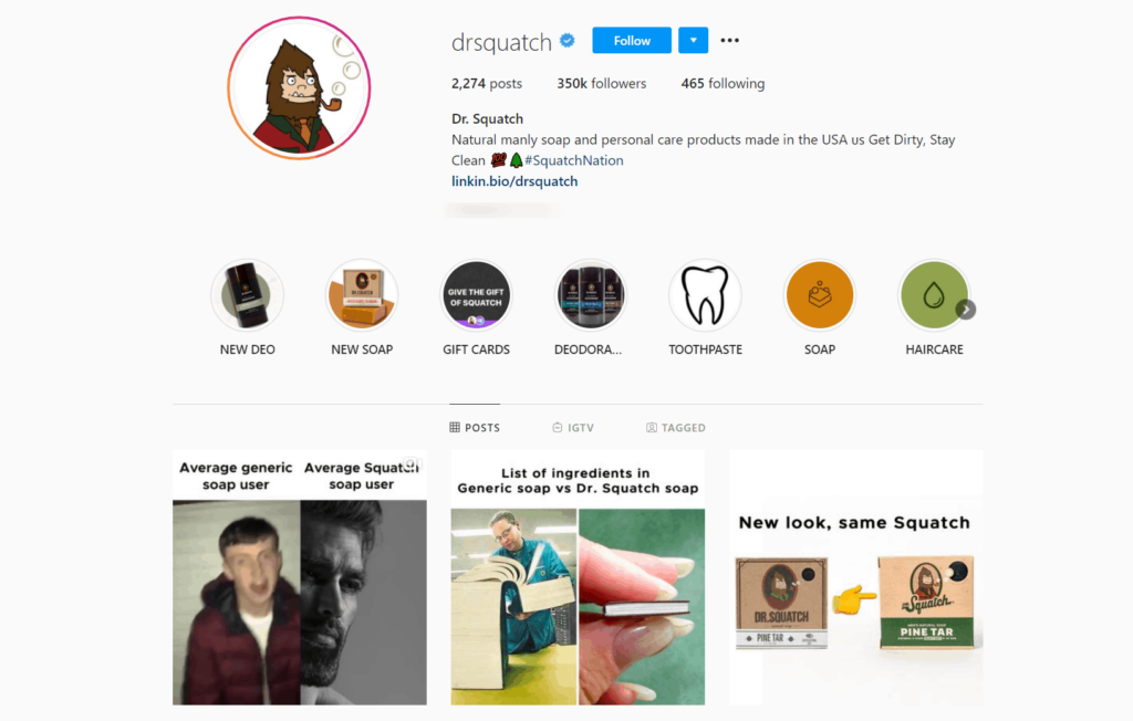 Dr. Squatch Ecommerce Store Instagram Account Examples