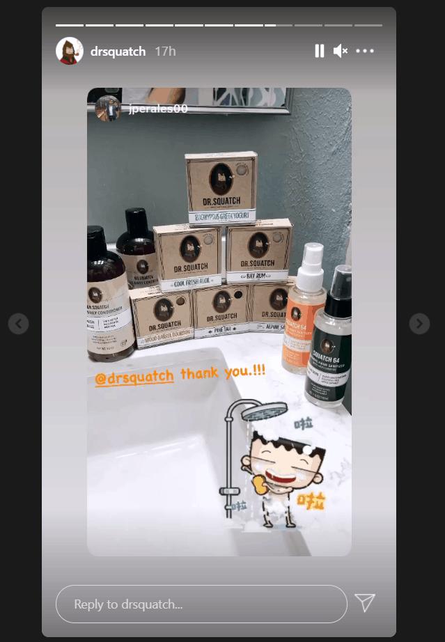 Dr. Squatch Instagram story