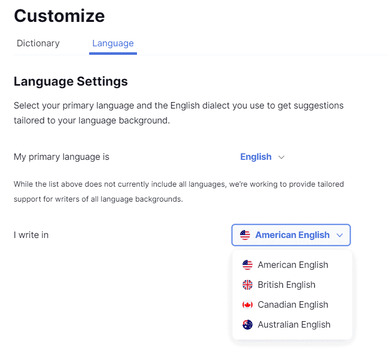 Langue settings, I have set it on 'American English'.