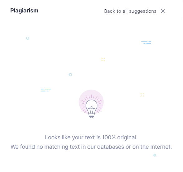Example of what the plagiarism checker looks like when 100% is original