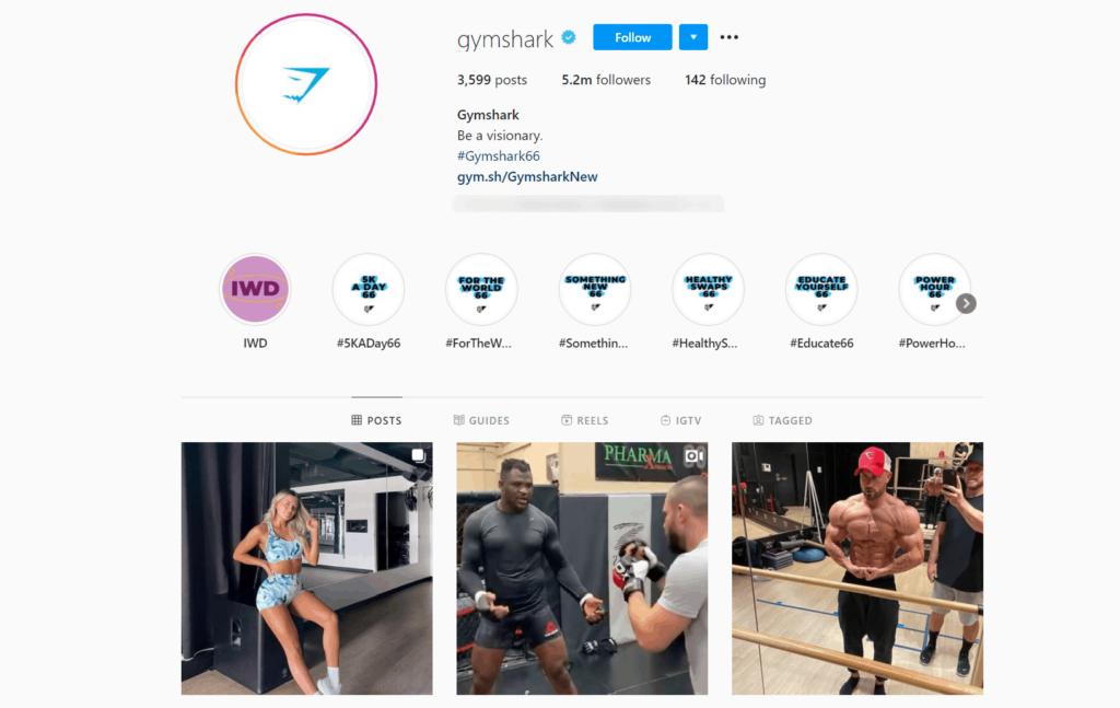 Gymshark Ecommerce Store Instagram Account Examples