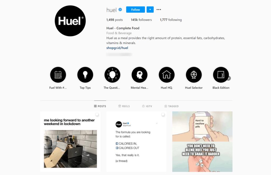 Huel Ecommerce Store Instagram Account Examples