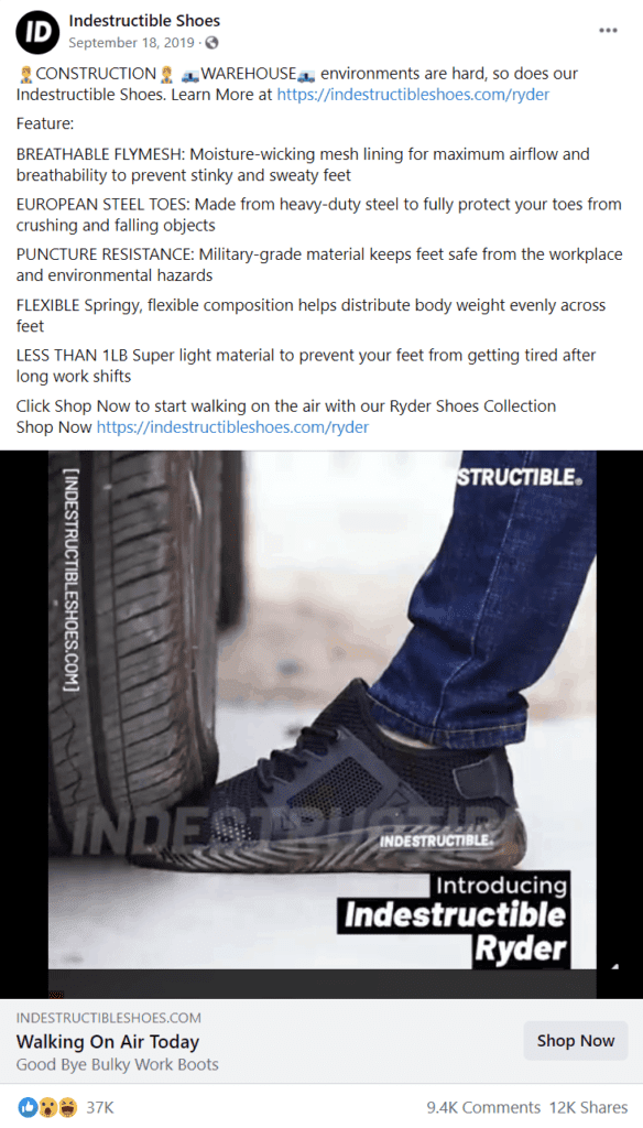 Indestructible Shoes Facebook ad examples for ecommerce