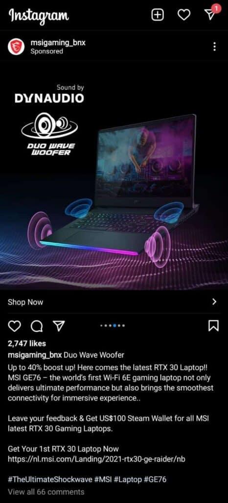 Instagram ad ecommerce store example