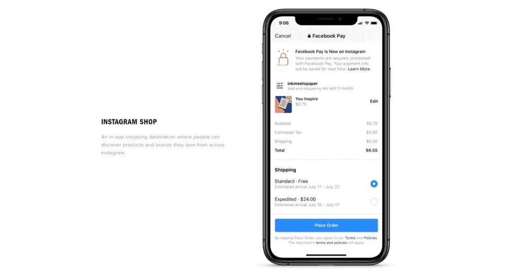 Instagram shop checkout