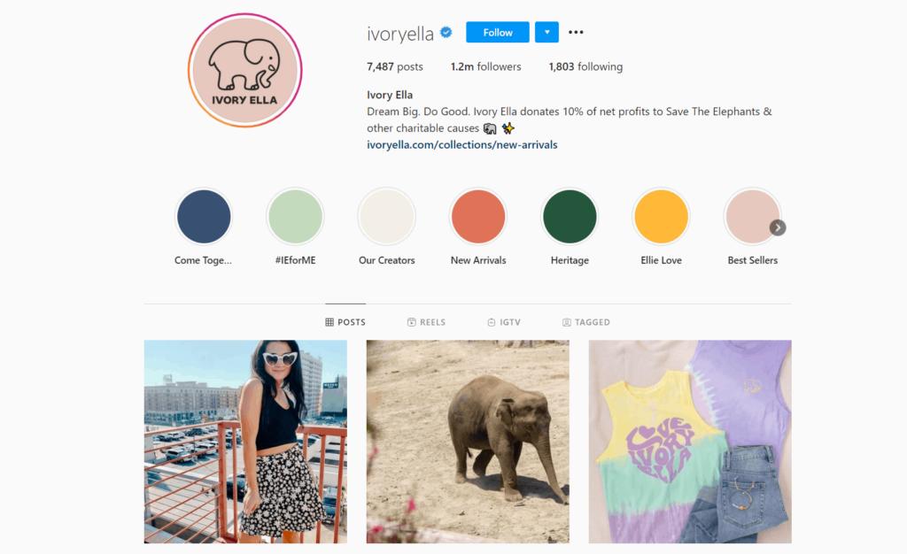 Ivory Ella Ecommerce Store Instagram Account Examples