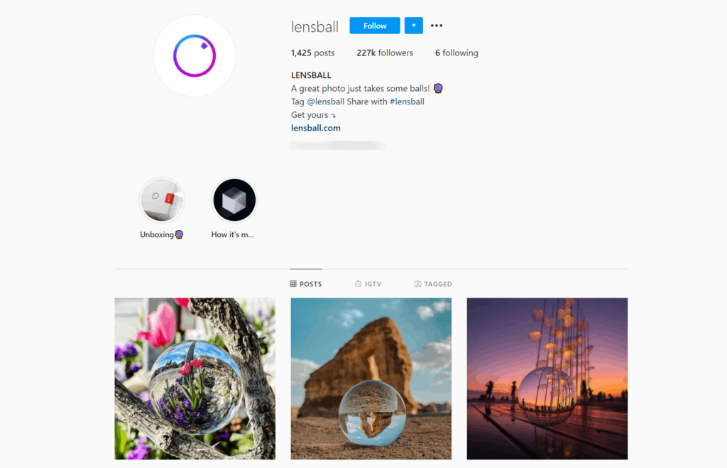 Lensball Ecommerce Store Instagram Account Examples