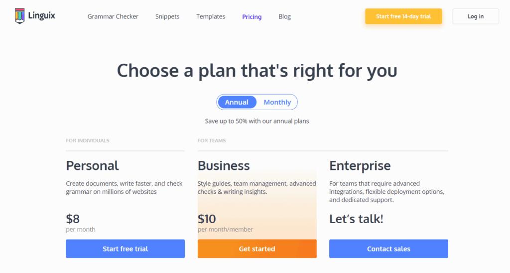 Pricing plans of Linquix