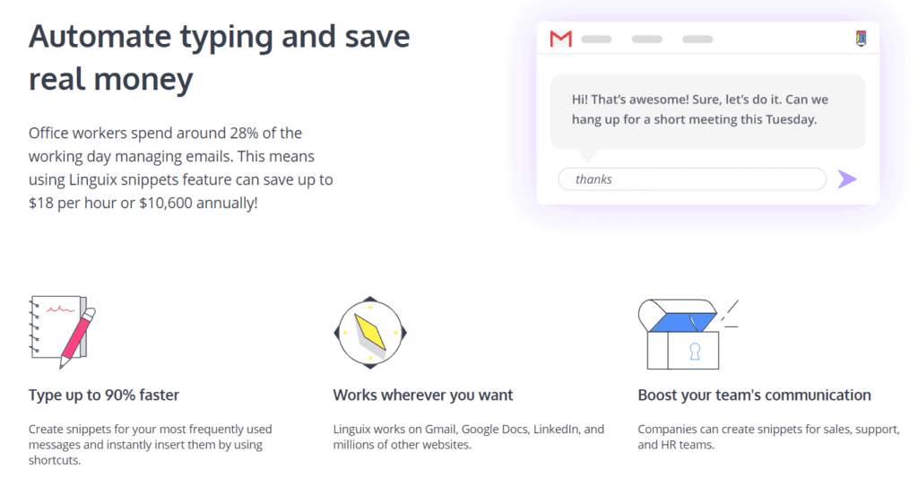 Example of how their shortcuts feature works